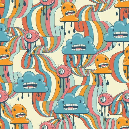 Monsters modern seamless pattern in retro style Stock Vector - 14829347
