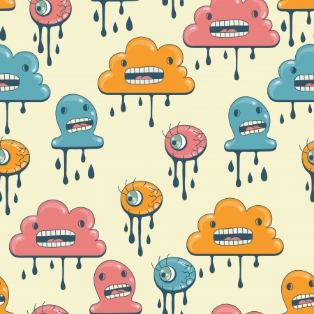 Monsters modern seamless pattern in retro style  Illustration