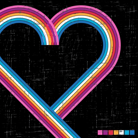 Colorful retro grunge background - vector abstract heart  Vector