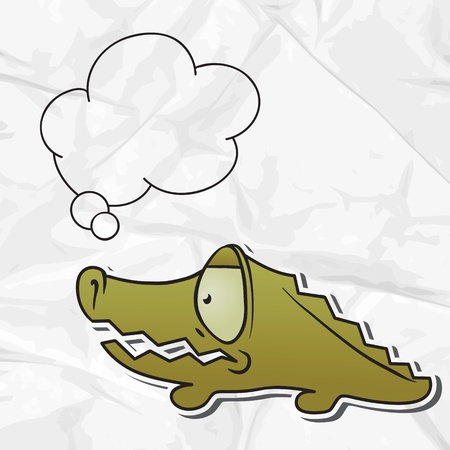 EPS 8 crumpled paper background with vector crocodile  Vector