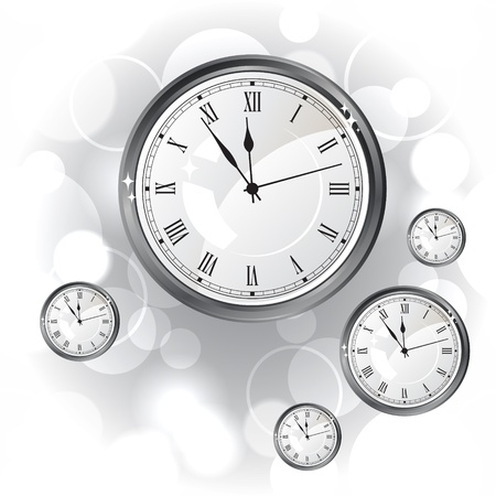 Stylish vector background with silver glossy watches  Vector