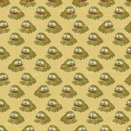 Vintage vector seamless pattern with cartoon frogs  Vector