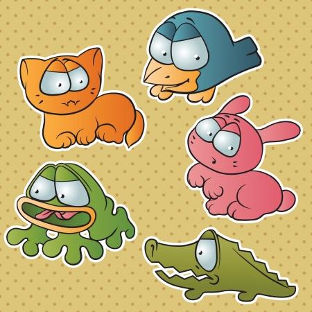 Set of five cute cartoon vector animals  Vector