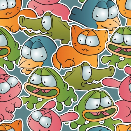 Vintage seamless pattern with cartoon animals  Vector
