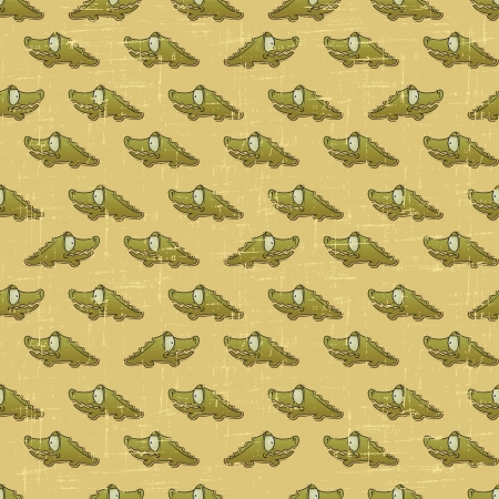 Vintage seamless pattern with cartoon crocodiles  Vector