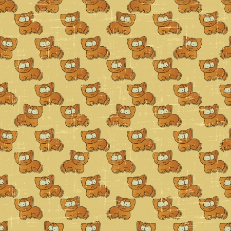 Vintage vector seamless pattern with cartoon cats  Vector