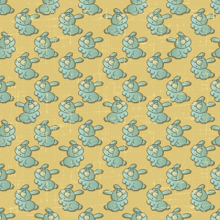 Vintage vector seamless pattern with cartoon rabbits  Vector
