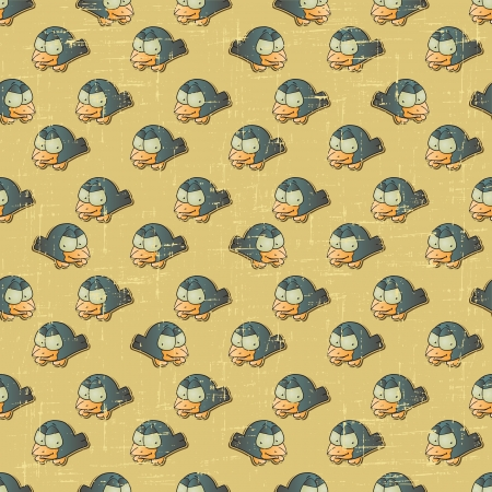 Vintage vector seamless pattern with cartoon birds  Vector