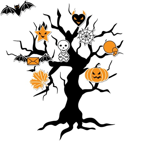 Set of cute vector Halloween icons in terrible tree  Vector