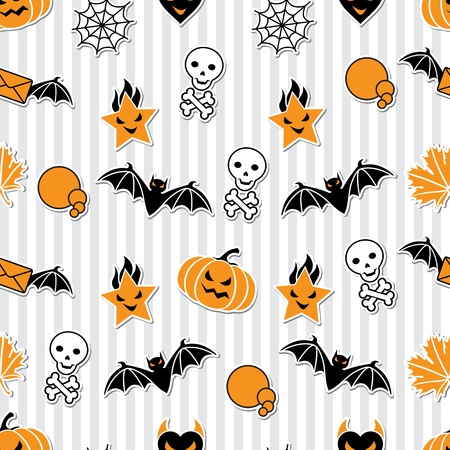 halloween background: Vector background of Halloween-related objects and creatures  Illustration