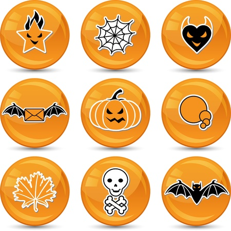 Set of glossy vector Halloween icons for your design  Vector