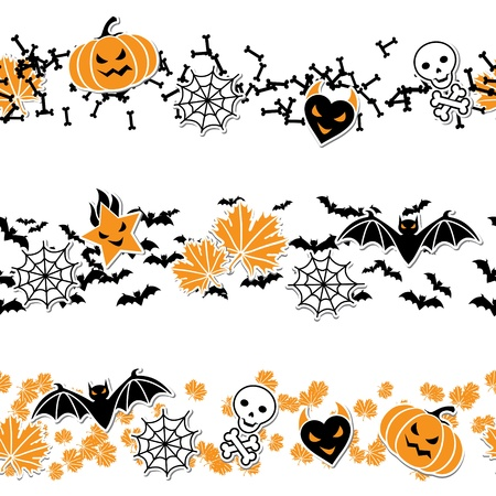 Vector border of Halloween-related objects and creatures  Vector