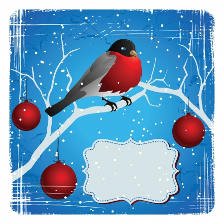 Bird on a tree in winter  Christmas and New Year s card  Vector