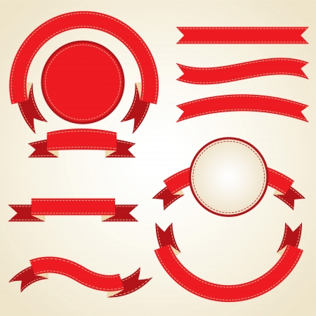 Set of curled red ribbons, vector illustration  Vector