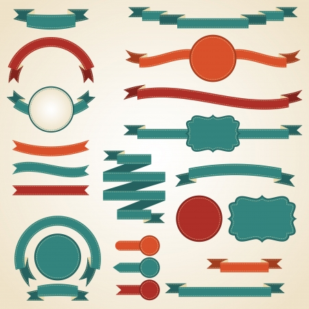 ribbon: Set retro Farbb�nder und Etiketten Vector illustration