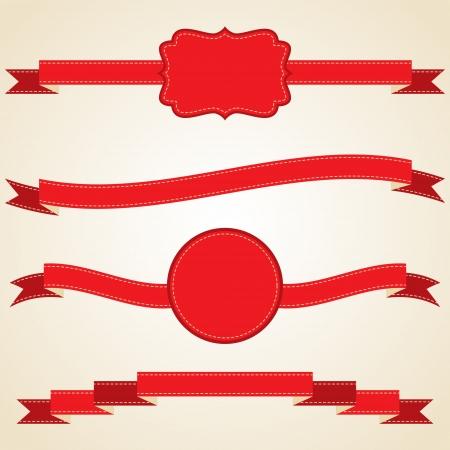nastro angolo: Set di nastri rossi arricciati, illustrazione vettoriale