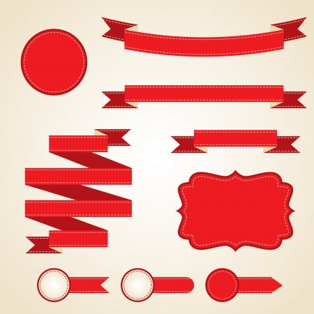 tape line: Set of curled red ribbons, vector illustration  Illustration
