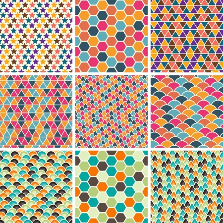 Set of seamless retro geometric pattern Stock Vector - 14920933