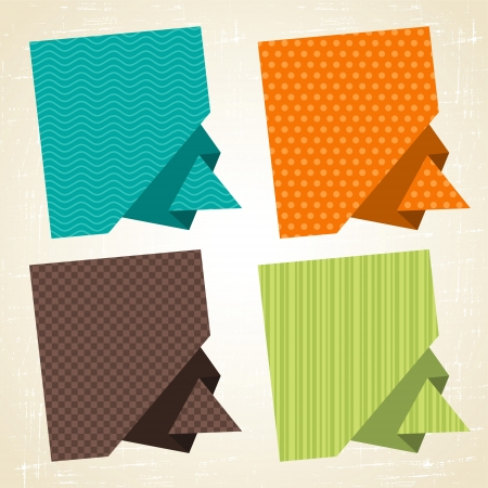 Vector origami background  Banner and speech bubbles  Vector