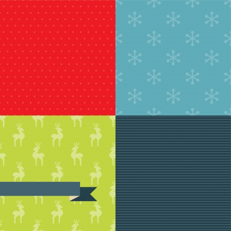wrapping: Set of 4 Christmas and New Year seamless patterns