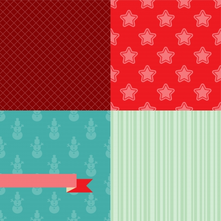 Set of 4 Christmas and New Year seamless patterns Stock Vector - 14975325