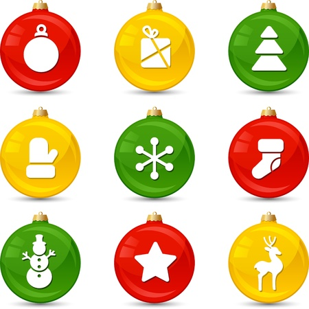 Set of Christmas icons on collor balls  illustration