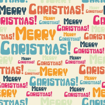 seamless pattern with colored Merry Christmas  Vector