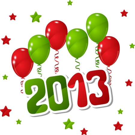 New Year background with balloons and stars  Vector