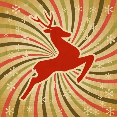 seasonal greetings: Christmas background with jumping stylized deer