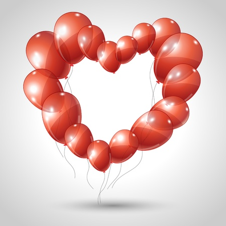 heart made of balloons  Valentine background  Vector