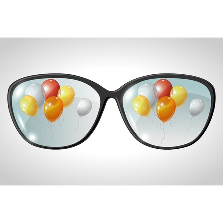illustration of balls, reflected in the glasses  Vector