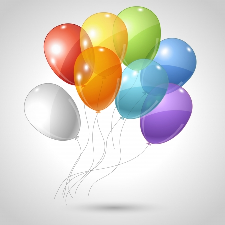 birthday balloon: Stylish background with flying balloons