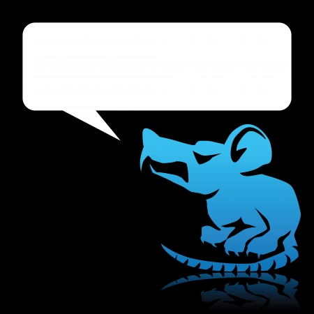 angry cartoon: Angry cartoon blue rat with space for text
