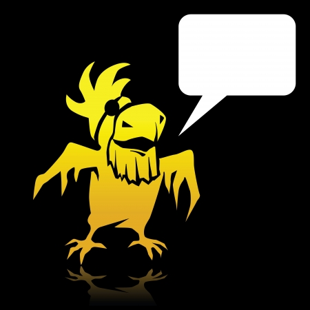 pampered: Angry cartoon yellow parrot pirate with space for text