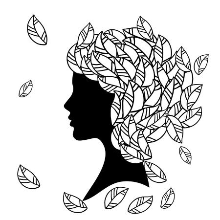 silhouette of beautiful woman with Hairstyles Stock Vector - 15036275
