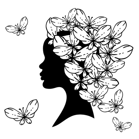 silhouette of beautiful woman with Hairstyles  Vector
