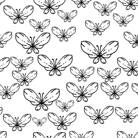 Seamless black and white vector pattern with butterflies Vector