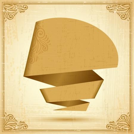 Retro origami speech bubble background   Vector