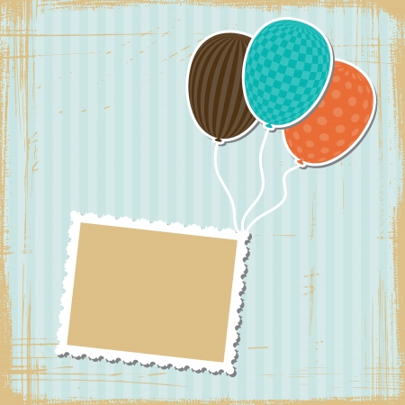 birthday backdrop: Card with flying balloons in retro style