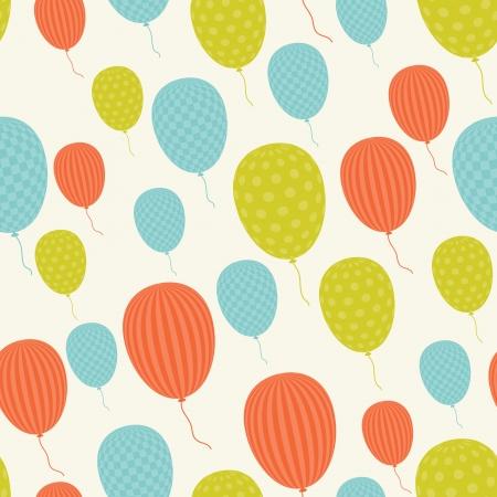 sin costura patrón de estilo retro, globos voladores