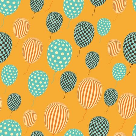 seamless in retro style pattern, flying balloons  Vector