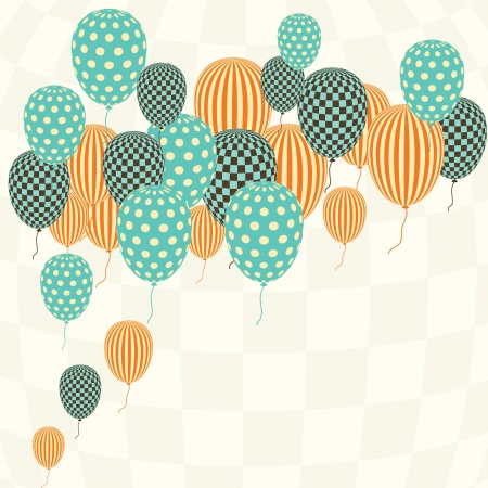 vintage invitation: Card with flying balloons in retro style