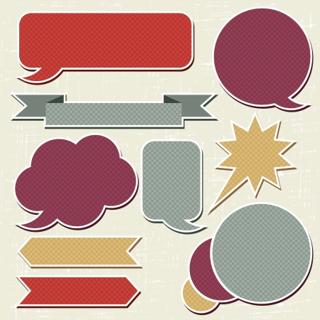 text bubble: Collection of retro speech bubbles and dialog balloons Illustration