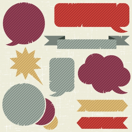 retro sign: Collection of retro speech bubbles and dialog balloons Illustration