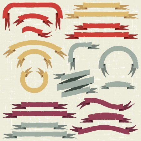 Set of retro ribbons and labels  illustration  Vector