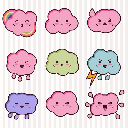 Collection of funny and cute happy kawaii clouds  Vector