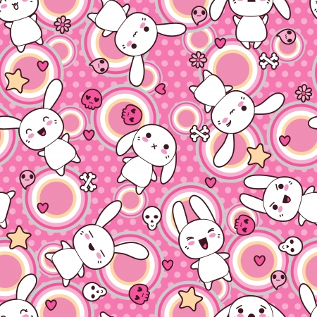 manga style: Seamless pattern with doodle  kawaii illustration
