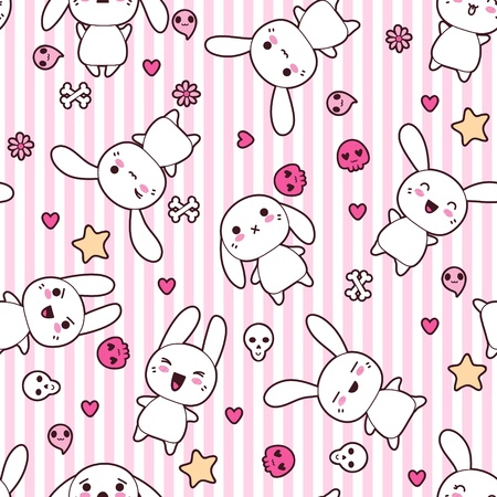 crazy cute: Seamless pattern with doodle  kawaii illustration
