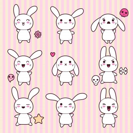 conejo caricatura: Colección de divertidos y lindos conejos kawaii feliz