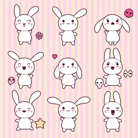 Collection of funny and cute happy kawaii rabbits  Vector